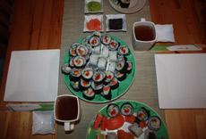 Przykładowe podanie sushi